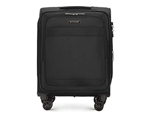 WITTCHEN Koffer – Handgepäck | Textil, Material: Polyester | hochwertiger und Stabiler | Schwarz | 39 L | 55x23x39 cm