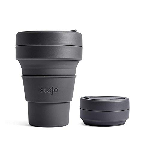 Stojo On The Go Taza de café | Tamaño de bolsillo plegable de silicona – Carbono, 355 ml | No incluye pajita
