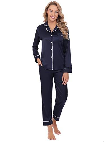 Arblove - Pigiama da donna in raso a maniche lunghe, con bottoni e pantaloni - blu - XX-Large