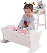 KidKraft Tiffany Bow Scalloped-Edge Wooden Lil Doll Rocking Cradle with Comforter, Pad..