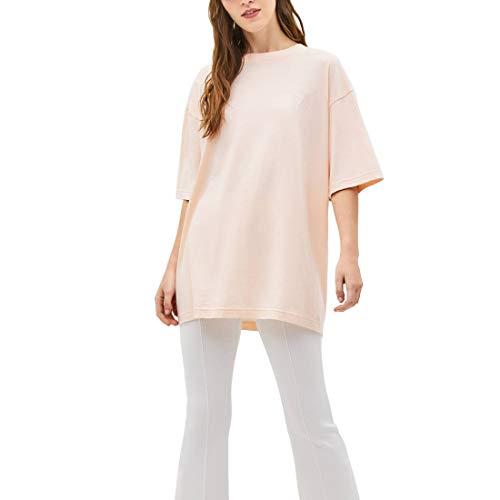 Largas Camisetas Mujer Manga Corta Algodón Marca Moda Basicas Túnica Camisas Ropa Tops Tallas Grandes (Rosa, Large)