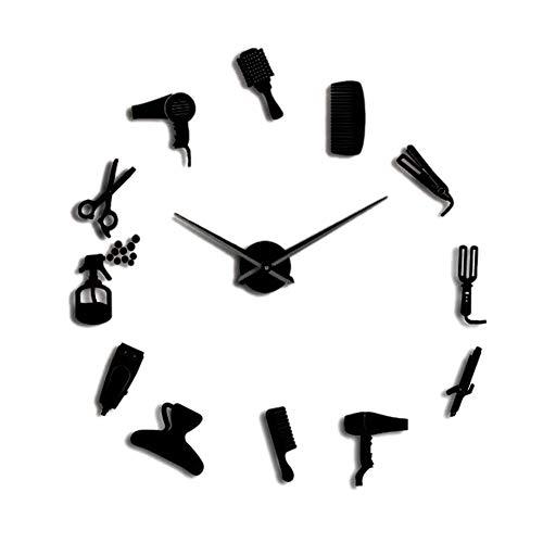 Andifany DIY Barber Shop Reloj de Pared Gigante con Efecto Espejo Barber Toolkits Reloj Decorativo Sin Marco Reloj Peluquería Barber Wall Art (Negro)