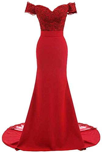 Lily Wedding Womens Lace Off Shoulder Mermaid Prom Dress Long Sleeveless Evening Bridesmaid Dress with Mesh Insert Train Red Plus Size 26