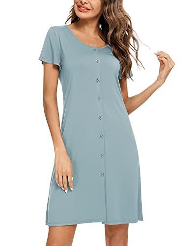 BESDEL Sleepwear Camicia da Notte da Donna Manica Corta Camicia da Notte Casual Camicia da Notte abbottonata Grigio Blu S