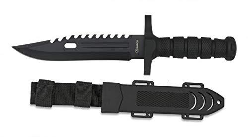 Cuchillo Negro engomado Hoja 19 cm para Caza, Pesca, Camping, Outdoor, Supervivencia y Bushcraft Albainox 32434 + Portabotellas de regalo