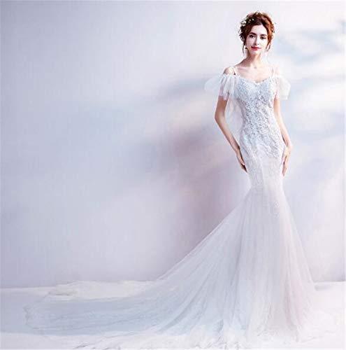LYJFSZ-7 Hochzeitskleid,Romantisch Elegante Weiße Meerjungfrau Bodenlangen Trägerlosen Brautkleid No. 07449