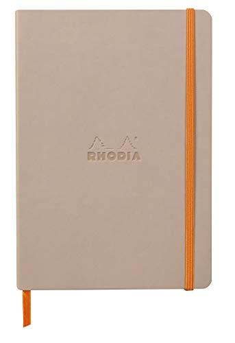 Rhodia 117439C – Cuaderno flexible de tacto de rosa A5, 14,8 x 21 cm, puntiagudos, 160 páginas, papel Clairefontaine marfil 90 g/m2, cierre elástico, cobertura de piel sintética – rodiarama