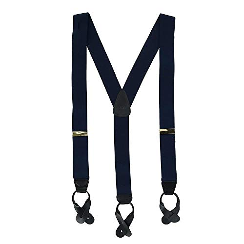 CTM® Mens Elastic Button End Suspenders (Tall Available), X-Long, Navy