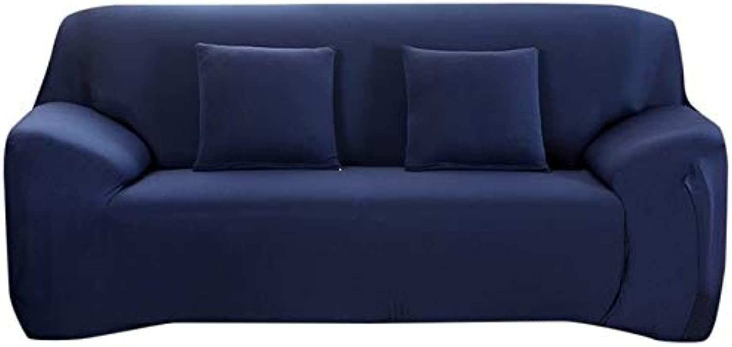 Farmerly Plain Elastic Stretch Sofa Covers Polyester Spandex Fabric Arm Couch Sofa Slipcover Furniture Cover Single Two Three Four-Seater   Navy bluee, 2 Seater