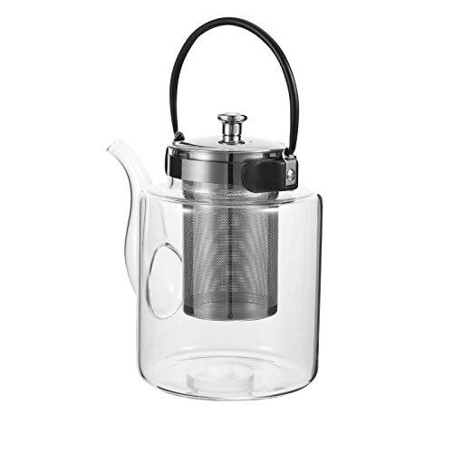 BESTonZON Stainless Steel Glass Teapot 1500ml Heat Resistant Loose Tea Glass Infuser Kettle Tea Coffee Water Stovetop Kettle for Flower Tea Loose Lea Transparent