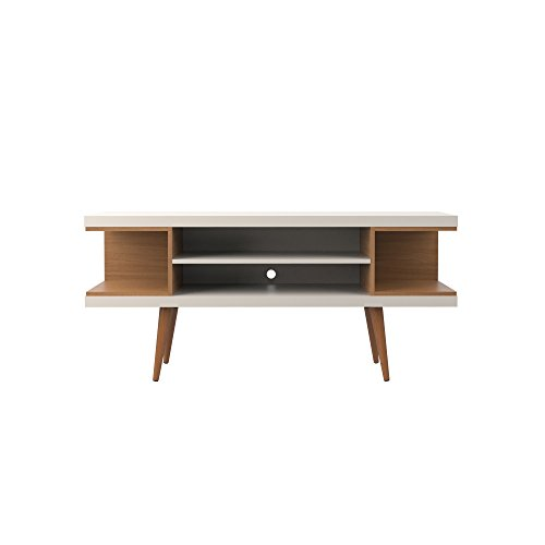 Manhattan Comfort Utopia Collection Mid Century Modern TV Stand With Open 3 Open Shelves and Two Open Cubbies, Off White/Wood