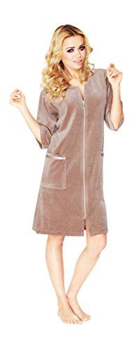 Damen Leichte Baumwolle Bademantel, Kurz Lange, Armel Und Reissverschluss Schliessen (Beige, 42)