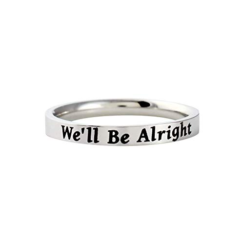 We'll Be Alright - Dainty Stainless Steel Stacking Band Ring, TPWK Be Kind, Gift for Her & Him, Mother Daughter Sisters Friends, Birthday, Valentines, Anniversary, Christmas