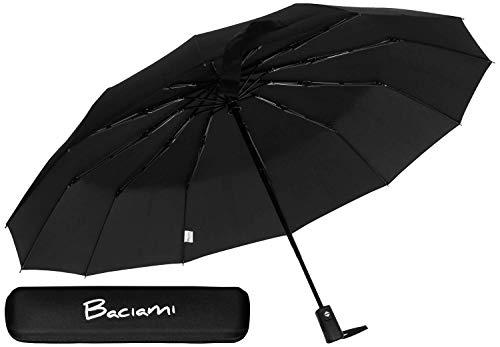 Baciami Forte Automatik Regenschirm für Damen/Herren - Sturmfest - 12 Streben - Groß & Robust - Schwarz