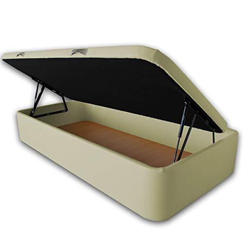 Ventadecolchones - Canapé Abatible Apertura Lateral Serena Gran Capacidad Tapizado en Polipiel Crudo Medidas 90 x 190 cm con Tapa con Borde en Polipiel + Tejido 3D