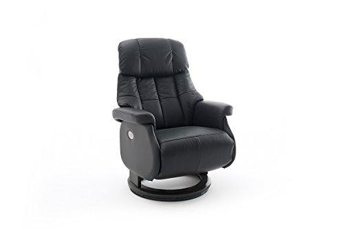 Robas Lund Leder Relaxsessel elektrisch 150 Kg TV Sessel, Relaxer Fernsehsessel Echtleder schwarz, Calgary Comfort XXL