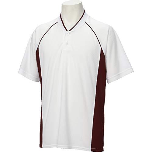 アシックス(asics) 野球 ベースボール シャツ 半袖 2ボタン BAD013 Mサイズ ホワイト/エンジ BAD013 ホワイト/エンジ M