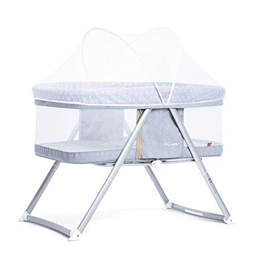 Lowest Prices! Cots Xinjin Newborn Bedside Crib,2 in 1 Travel Bassinet for Baby Kids with Swing Func...