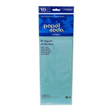 Papel de seda 50x76cm Azul celeste (bolsa 10 hojas)