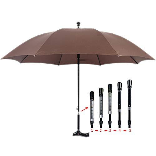 DMZH Gehstöcke Stöcke Gehen Regenschirm Alter Mann Sonnenschirm Bergsteigen Regen Regenschirm Krücke Stahl Anti-Rutsch Klettern Klettern Regenschirm,Braun