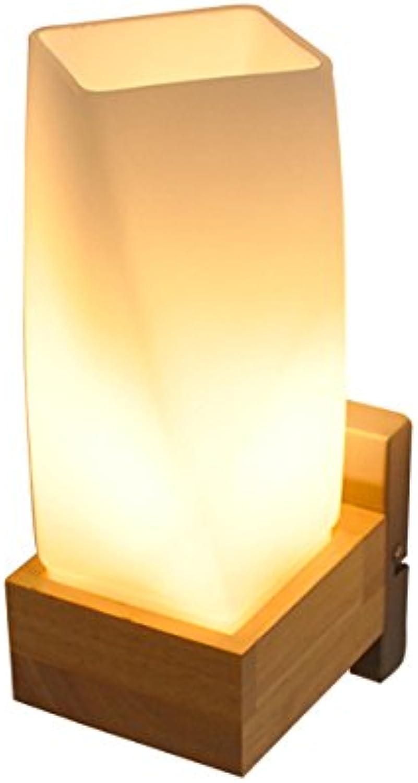 AJZGF Im Europischen Stil Kreative Wandleuchte Wandleuchte Aus Holz Schlafzimmer Nachttischlampe Wohnzimmer Flur Balkon LED-Lampe E27