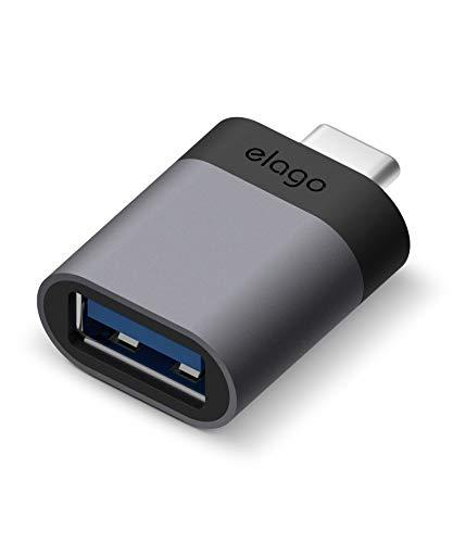 elago Mini Aluminum USB-C a USB 3.0 Femmina Adattatore Compatibile con Apple MacBook Pro 2018/2017, MacBook Air 2018 e altri dispositivi con USB tipo C (Grigio siderale)