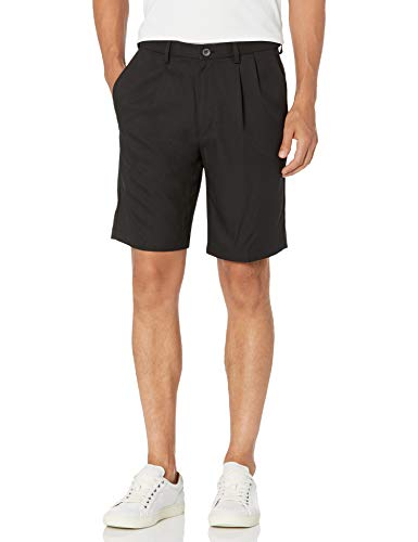 Haggar Men'sCool 18 Expandable Waist Plain Front Plaid Short black 32