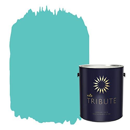 KILZ TRIBUTE Interior Satin Paint and Primer in One, 1 Gallon, Tropical Escape (TB-56)