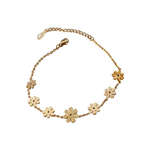 siqiwl Bracelet Stainless Steel Bracelet for Women Chrysanthemum Simple Small Petal Bracelet Girl Bracelet Jewelry Gold