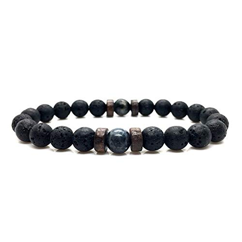 Zense ZB0342 - Pulsera ajustable para hombre, perlas negras lisas Magma y ónix
