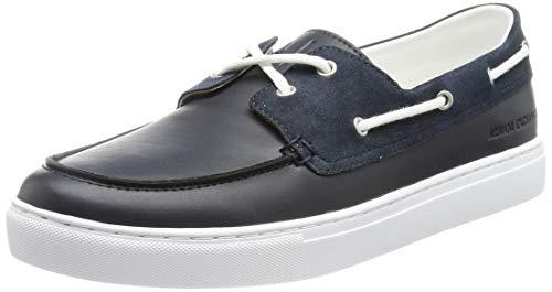 Armani Exchange Paris Boat Shoes, Zapatillas de Barco. Hombre, Azul Marino, 44.5 EU
