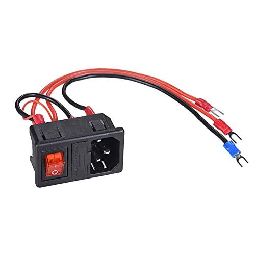 Fácil de Reparar Accesorios de Impresora Interruptor de Encendido con Fusible, 220V / 110 V 15A Interruptor de Fuente de alimentación Socket Macho con Fusible para Impresora 3D DIY Durable