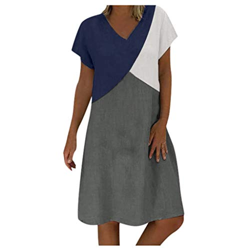 Kobay-Damen Mode Hautfreundlich Casual Kurzarm Baggy Cotton Leinen Maxi Kleid Geometric Splicing Geschenke für Frauen