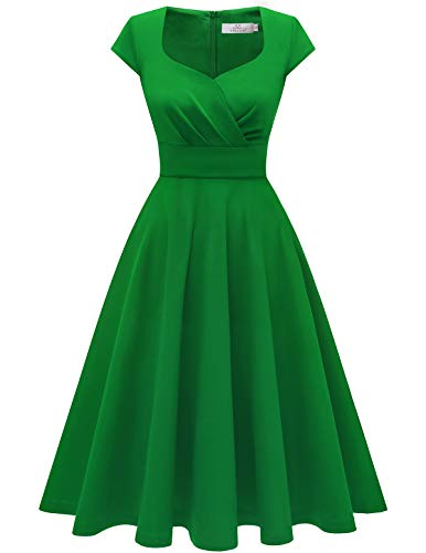 Homrain Donna Annata 1950 retrò Rockabilly Vestito cap Sleeves Audrey Swing Abito da Cocktail Partito Green XS