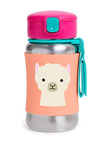 Skip Hop Taza con pajita, botella de pajita de acero inoxidable con diseño de zoo