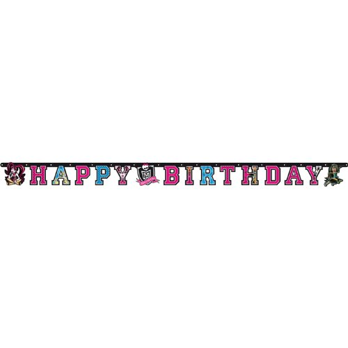 PARTY DISCOUNT NEU Girlande Happy Birthday Monster High, 180 cm
