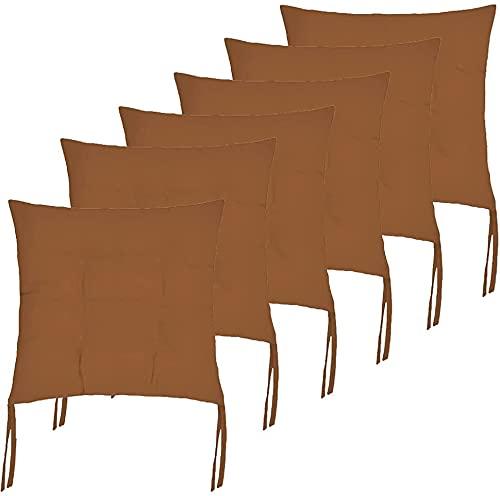 Cojines Acolchados de sillas de Cocina, terraza, jardín, balcón, Comedor. Tamaño 40 x 40 x 5cm. Cojines Asiento para sillas (Pack 6 Cojines, Marrón)