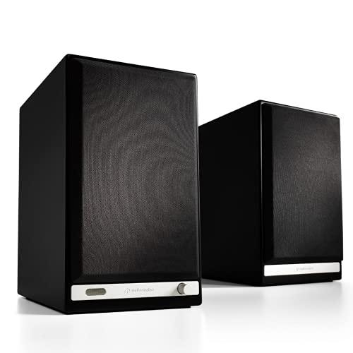 Audioengine HD6 Wireless Speaker   Desktop Monitor Speakers   Home Music System aptX HD Bluetooth, 150W Powered Bookshelf Stereo Speakers, AUX Audio, USB, Optical, RCA, 24-bit DAC (Black)