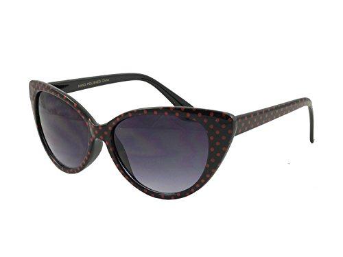 Gafas de sol de ojo de gato de Retrouv®, diseño de lunares, para mujer, modelo Super Cat Schwarz Rot-Punkt mit retroUV® Beutel 56