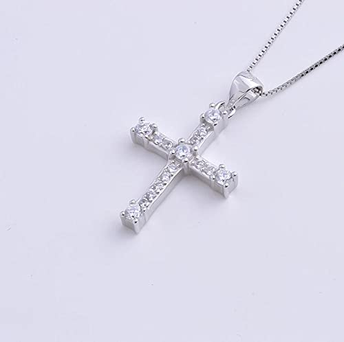 Gbrand Plata de Ley 925 Grandes Gemas de circonio Cruz Colgantes Femeninos Collares de Cadena Larga para Mujer joyería