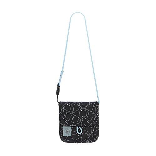 LÄSSIG Brustbeutel Junge Mädchen Brusttasche Umhängetasche Geldbeutel, Kordel mit Kindersicherung / Mini Neck Pouch, Spooky, 13 cm , Schwarz