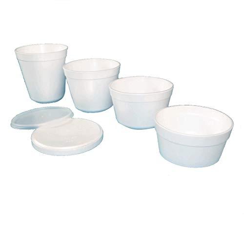 375-800 Thermo Suppenbecher Styroporbecher FC Behälter Isolierbecher weiß - Verschiedene Größen und Deckel zur Auswahl (Kunststoffdeckel FC12-24 600St)