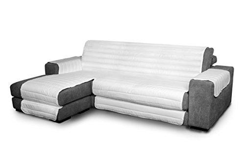 Italian Bed Linen Elegant - Funda Protectora para Sofá Chaise Longue Izquierdo, Microfibra, Blanco, Medida del asiento 290 cm + cubre brazos laterales