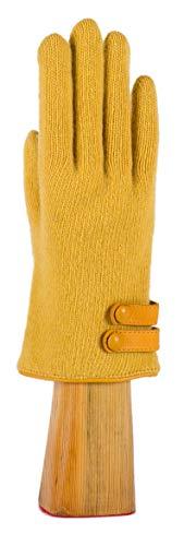 Santacana Madrid Guanto in cashmere e lana merino con decorazioni in pelle, prodotto in Spagna, funziona con i telefoni cellulari. ocra Taglia unica