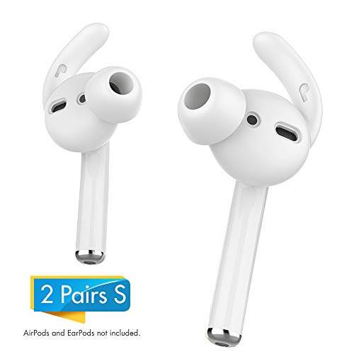 AhaStyle AirPods Ear Hooks 2 Pairs Earbuds Covers [Sound Quality Enhancement] Compatible with Apple AirPods 2 and 1 or EarPods(White-2 Pairs Small)