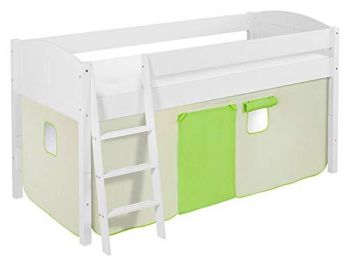 Lilokids Spielbett IDA 4106 Grün Beige-Teilbares Systemhochbett weiß-mit Vorhang Kinderbett, Holz, 208 x 98 x 113 cm