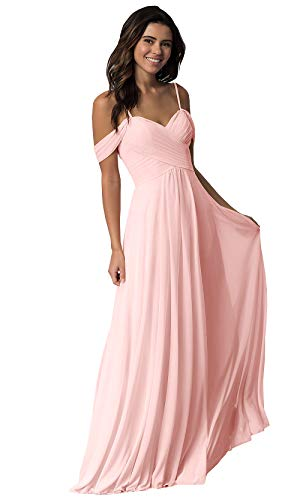 Women's Off The Shoulder Sweetheart Chiffon Prom Dress A Line Pleated Long Formal Bridesmaid Dress Blush Size 6