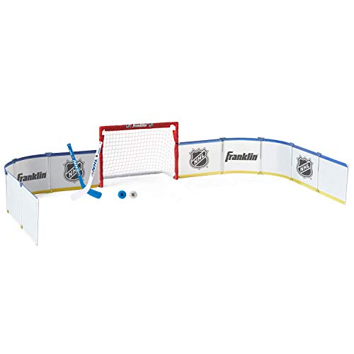 Franklin Sports Mini Hockey Rink Set - Half Rink Knee Hockey Goal, Mini Sticks, and Ball Set - Indoor Mini Hockey Rink - Official NHL Licensed