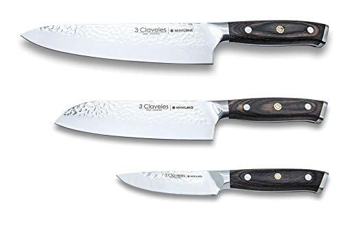 3 Claveles Juego de cuchillos de cocina profesional 3 Claveles Kimura Cuchillo de cocina multiusos menaje de cocina acero inoxidable set de utensilios cocina, Set 3 Cuchillos KIMURA