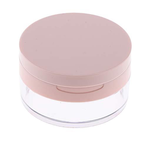perfeclan 20g Vide Pot en Plastique Stockage Poudre avec Eponge pour Poudre Fard à Joues - Rose